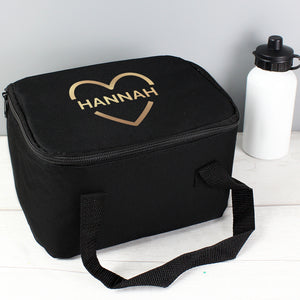 Personalised Gold Heart Design Insulated Lunch Bag