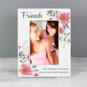 Personalised Floral Design Friends Wooden Photo Frame