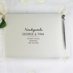 Personalised Newlyweds Wedding Guest Book & Pen Set