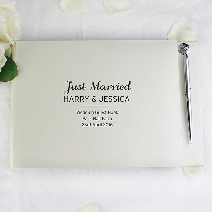 Personalised Just Married Wedding Guest Book & Pen Set