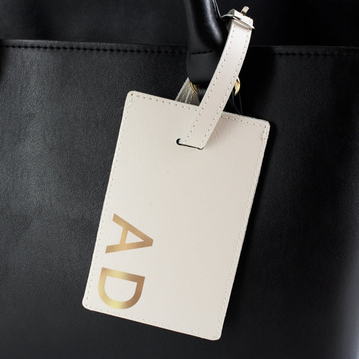 Personalised Cream Leather Luggage Tag