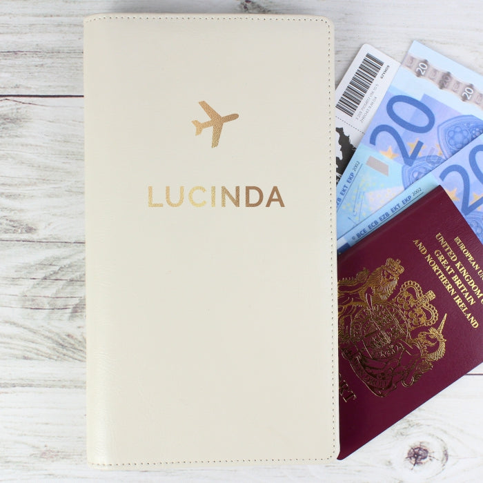 Personalised Cream Leather Travel Document Holder