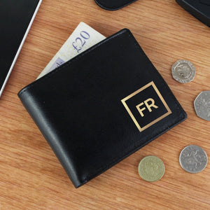Personalised Black Leather Wallet With Gold Initials