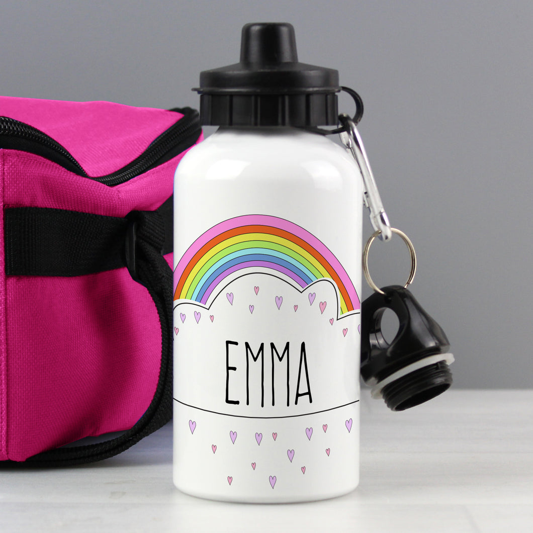 Personalised Rainbow Hearts Design Drink / Water Bottle