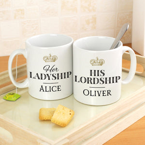 Personalised Her Ladyship His Lordship Mug Set