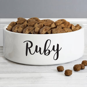 Personalised Medium White Pet's Food / Water Bowl