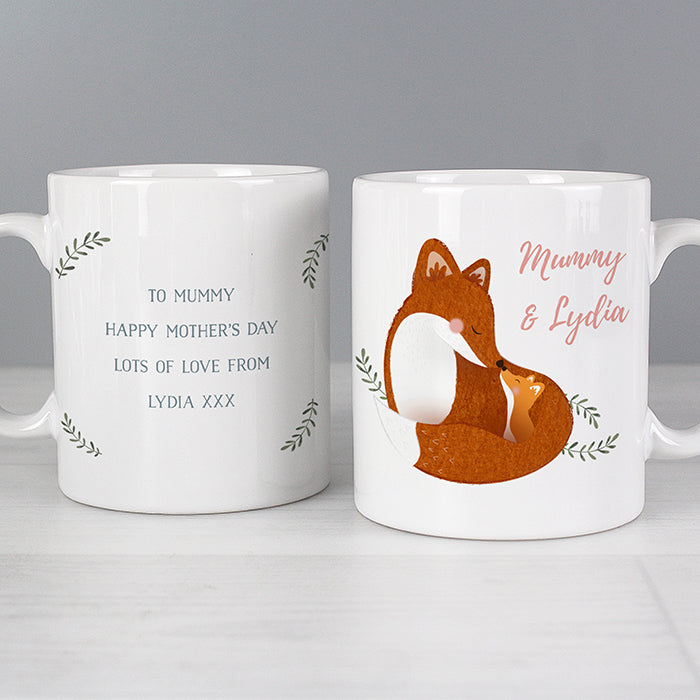 Personalised Mummy & Me Fox Design Mug
