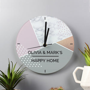Personalised Geometric Happy Home Glass Clock