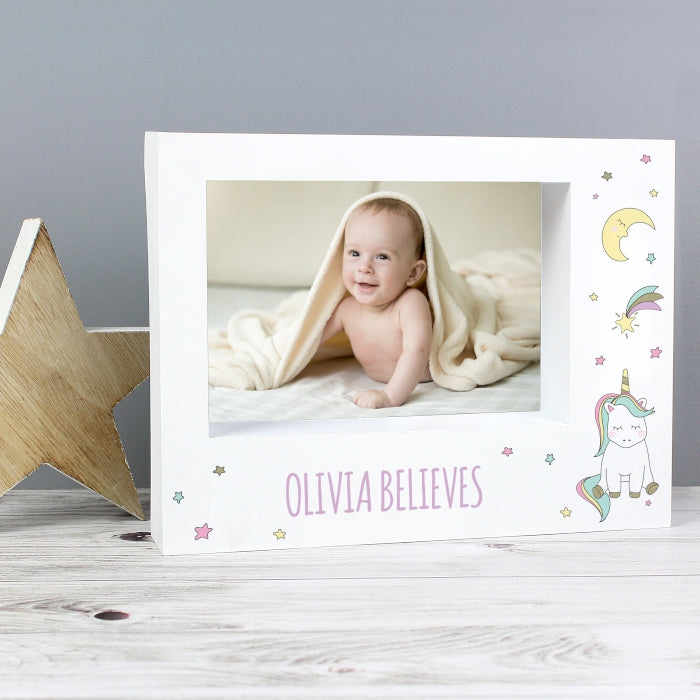 Personalised Unicorn Design Block Photo Frame