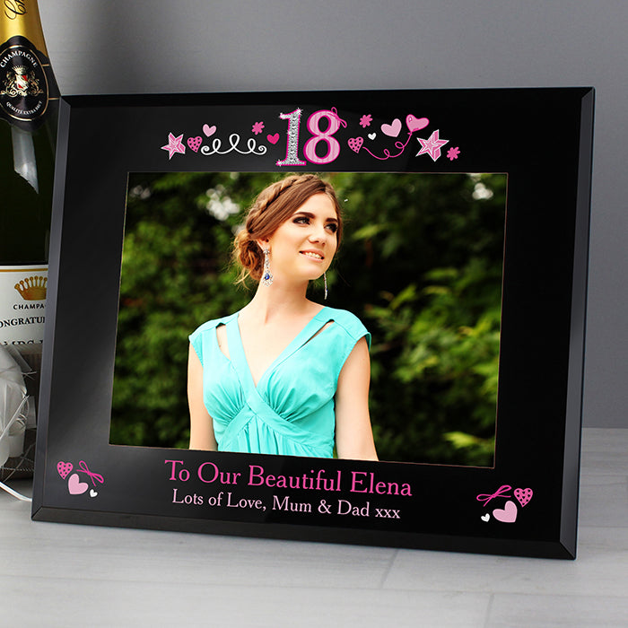 Personalised 18th Birthday Black Glass 7x5 Photo Frame