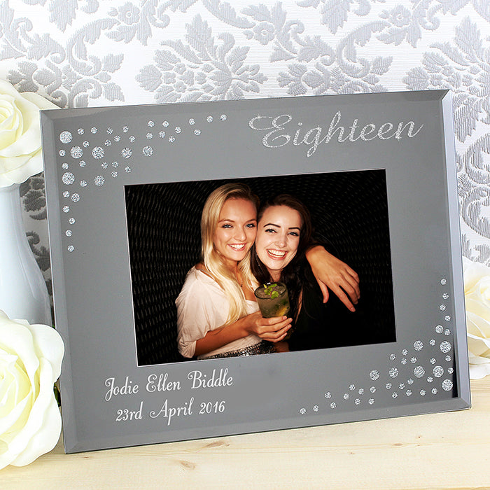 Personalised 18th Birthday Diamante 6x4 Glass Photo Frame