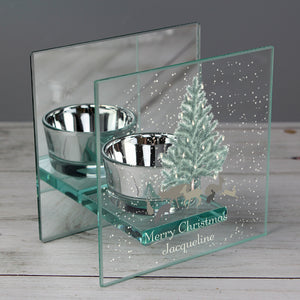 Personalised Woodland Scene Mirrored Glass Tea Light Holder
