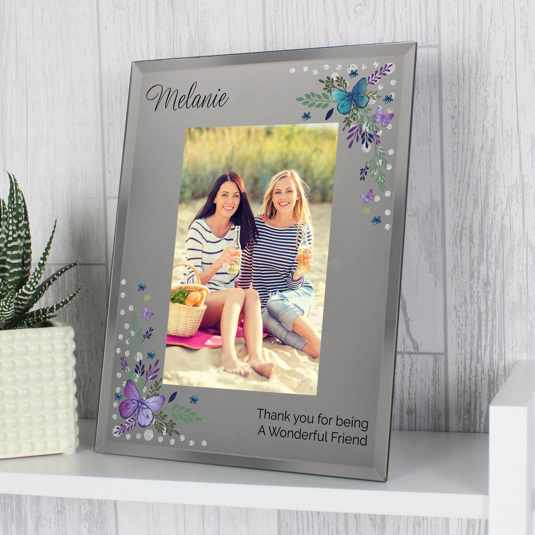 Personalised Butterfly Diamante Design Glass Photo Frame