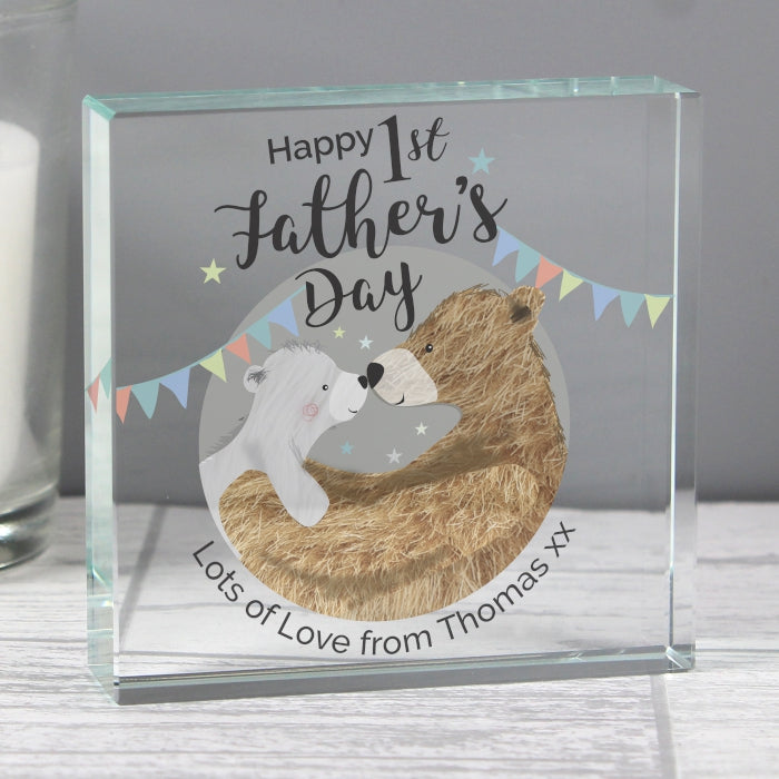 Happy 1st Father's Day Personalised Crystal Token