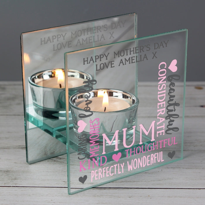 Personalised Mum Mirrored Glass Tea Light Holder