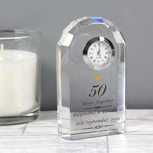 Personalised Golden Anniversary Crystal Clock