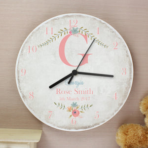Personalised Floral Bouquet Shabby Chic Large Wooden Wall Clock