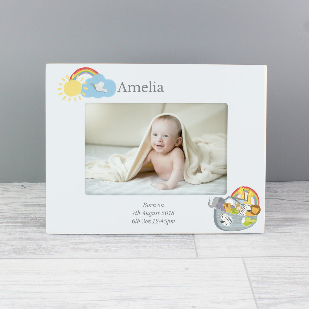 Personalised Noah's Ark 6x4 Wooden Photo Frame