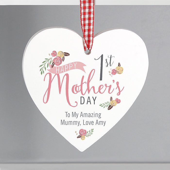 Happy 1st Mother's Day Personalised Hanging Wooden Heart