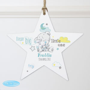 Personalised Tiny Tatty Teddy Dream Big Blue Wooden Star Decoration