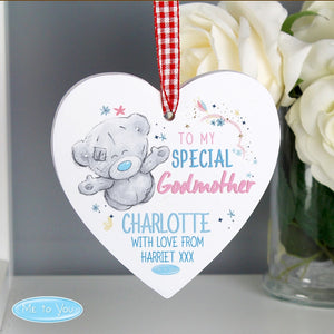 Personalised Me to You Special Godmother Wooden Heart Decoration