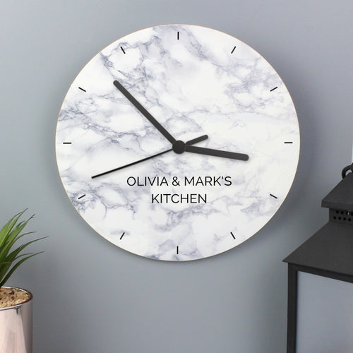 Personalised Marble Effect Wooden Wall Clock