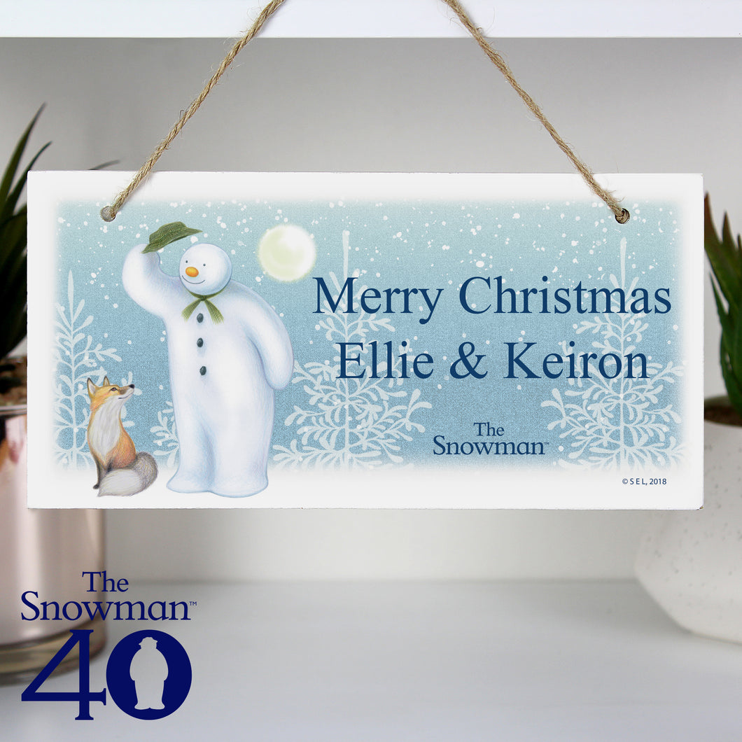 Personalised The Snowman Hanging Wooden Christmas Sign