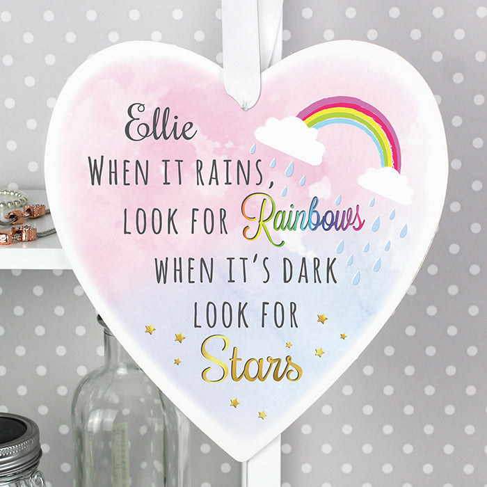 Personalised When It Rains Look For Rainbows Large Wooden Hanging Heart