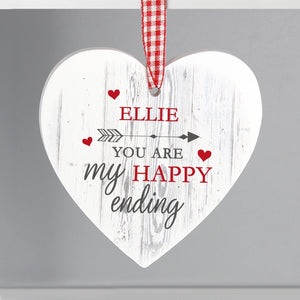 Personalised My Happy Ending Wooden Heart Decoration