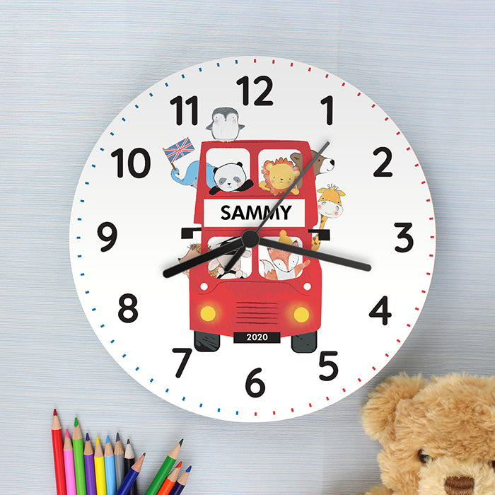 Personalised London Animal Bus Wooden Wall Clock