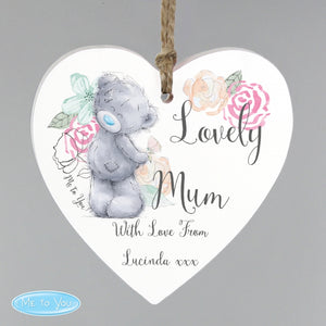 Personalised Me to You Lovely Mum Wooden Heart Decoration