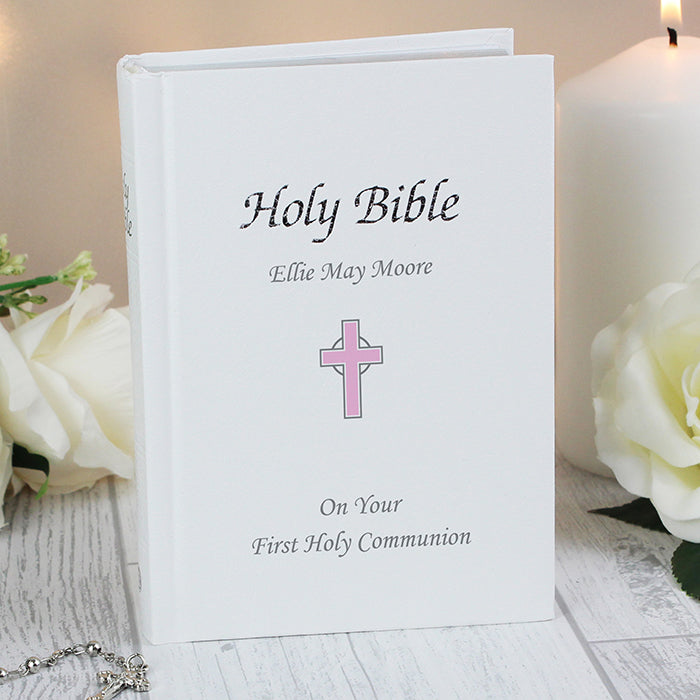 Pink Cross Design Personalised Bible