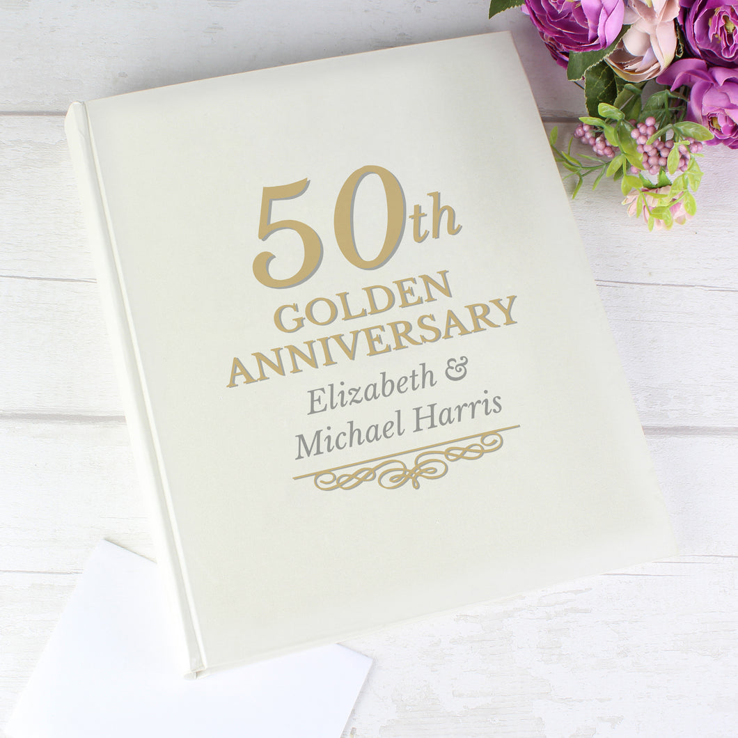 Personalised 50th Golden Anniversary Traditional Photo Album