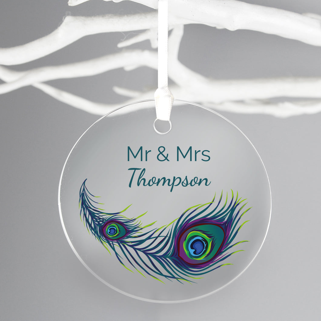 Personalised Peacock Design Acrylic Christmas Tree Decoration