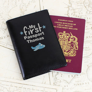 Personalised My First Passport Black Leather Passport Holder