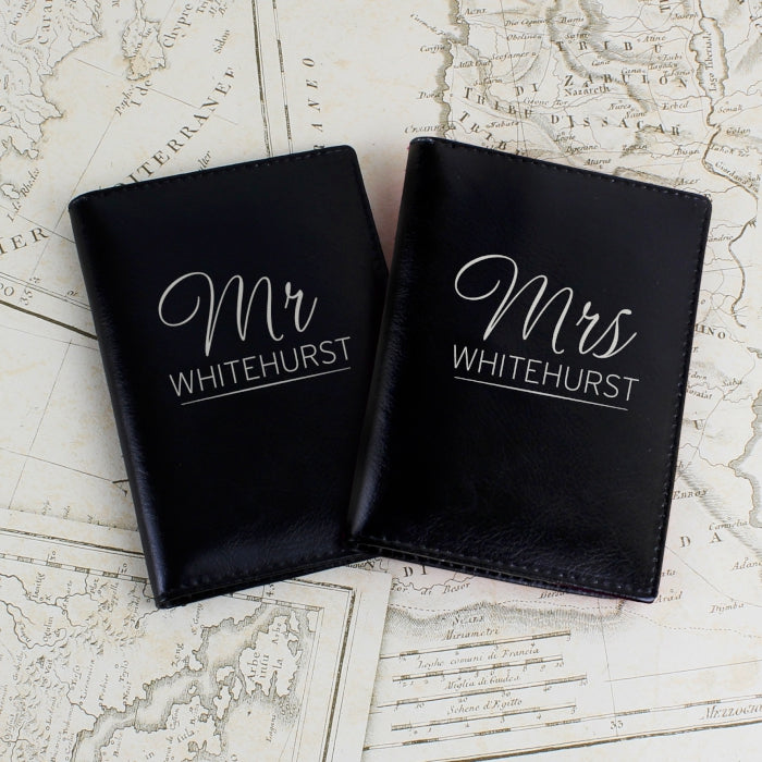 Personalised Black Leather Mr & Mrs Passport Holders