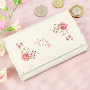 Personalised Cream Leather Floral Purse