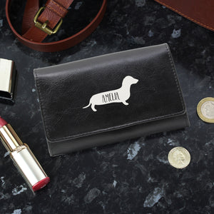 Personalised Dachshund Design Black Leather Purse
