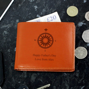 Personalised Compass Design Tan Leather Wallet