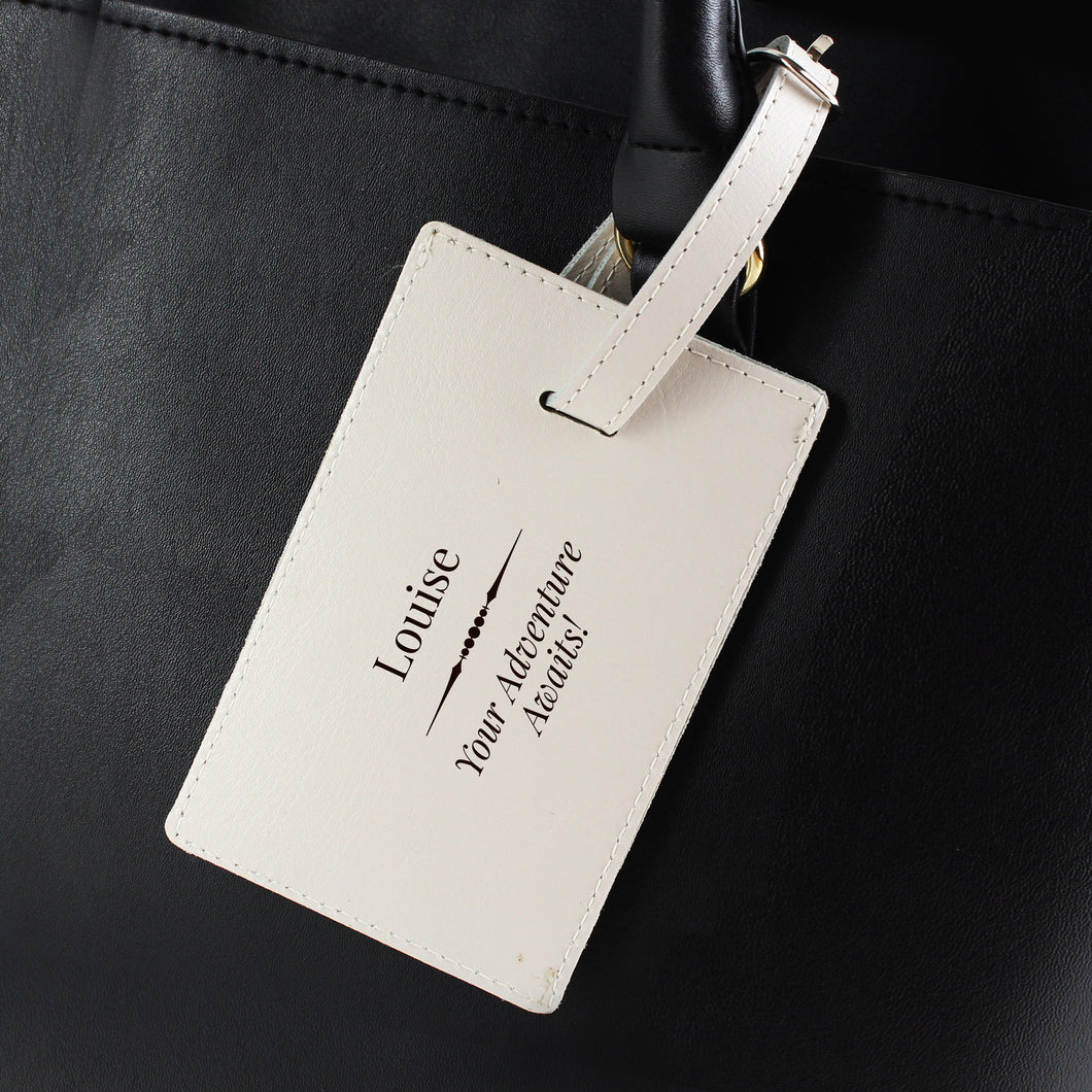 Personalised Your Adventure Awaits Cream Leather Luggage Tag