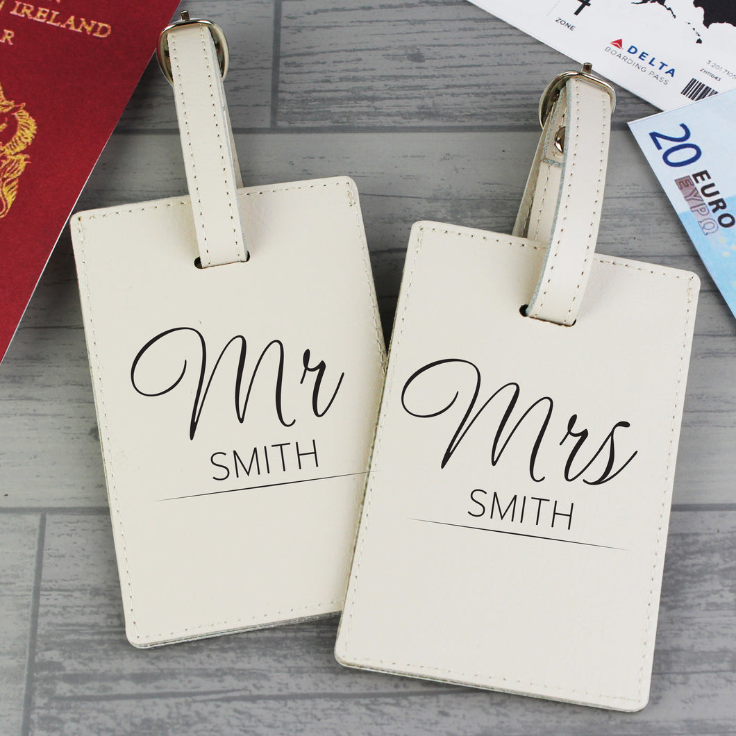 Personalised Mr and Mrs Leather Luggage Tags