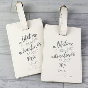 A Lifetime of Adventures Personalised Mr and Mrs Leather Luggage Tags
