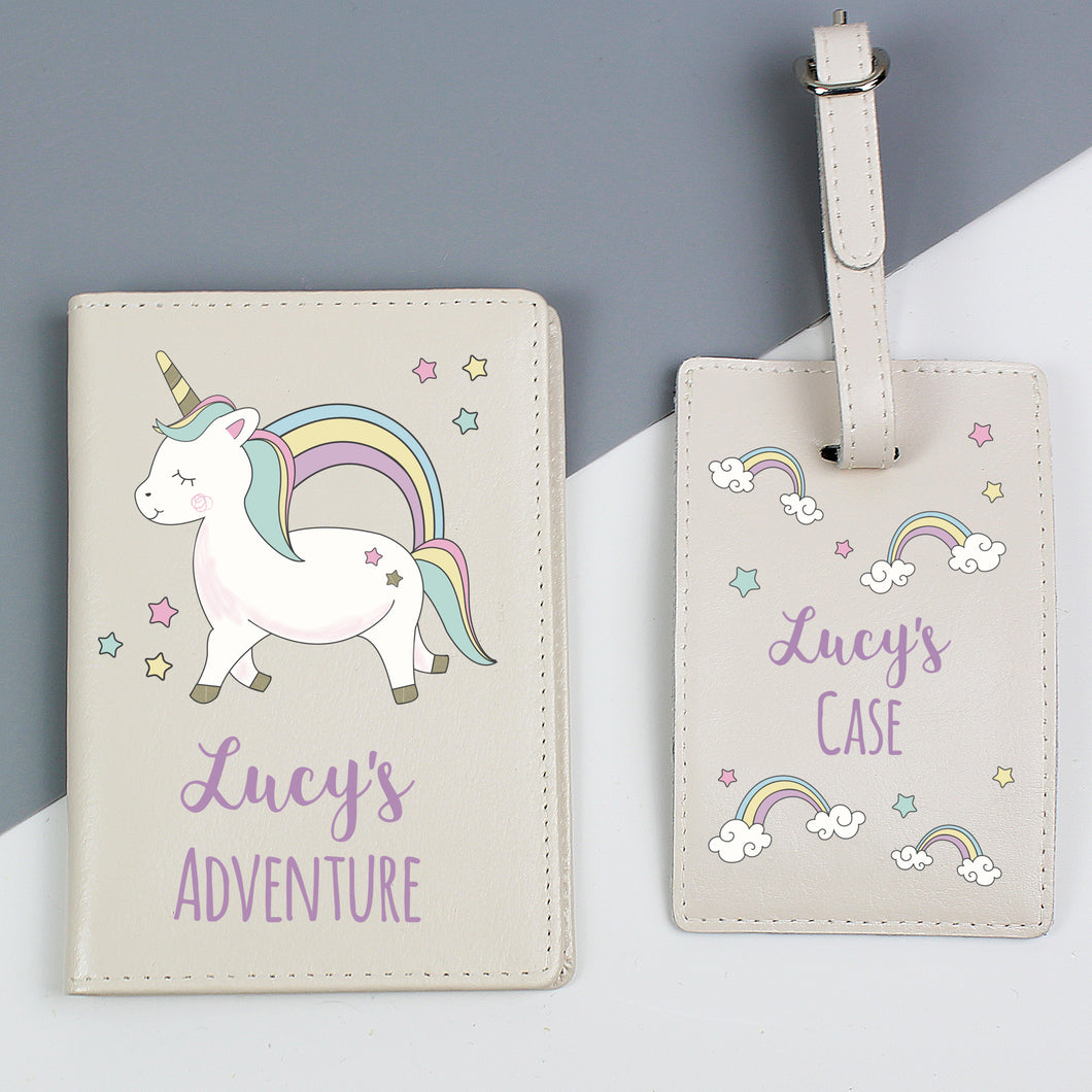 Personalised Baby Unicorn Design Passport Holder and Luggage Tag Set