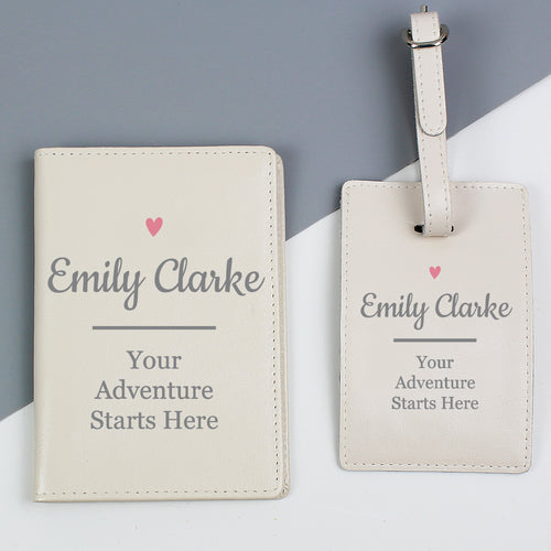 Personalised Pink Heart Design Passport Holder and Luggage Tag Set