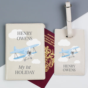 Personalised Blue Plane Design Passport Holder and Luggage Tag Set