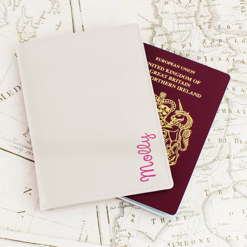 Personalised Pink Name Cream Leather Passport Holder