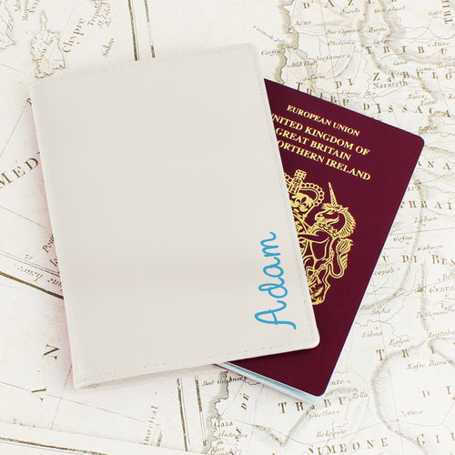 Personalised Blue Name Cream Leather Passport Holder