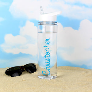 Personalised Blue Text Island Water Bottle