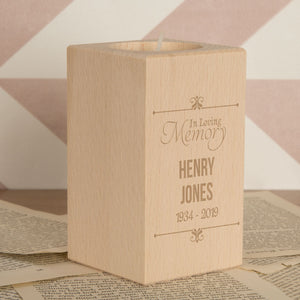 Personalised In Loving Memory Wooden Tealight Holder