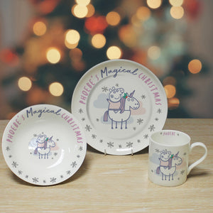 Personalised Peppa Pig Magical Christmas China Breakfast Set